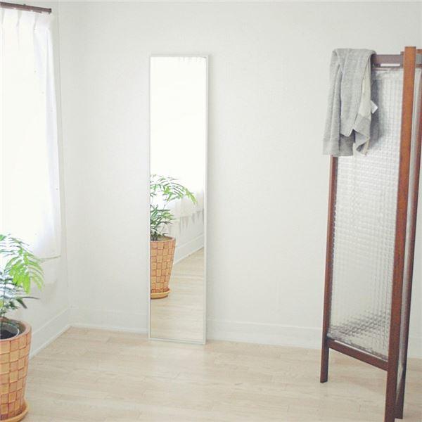 スリムミラー/全身姿見鏡 【ホワイト】 壁掛け 幅32×高さ153cm 天然木フレーム シンプル 日本製 〔玄関 廊下 居間 寝室〕【代引不可】