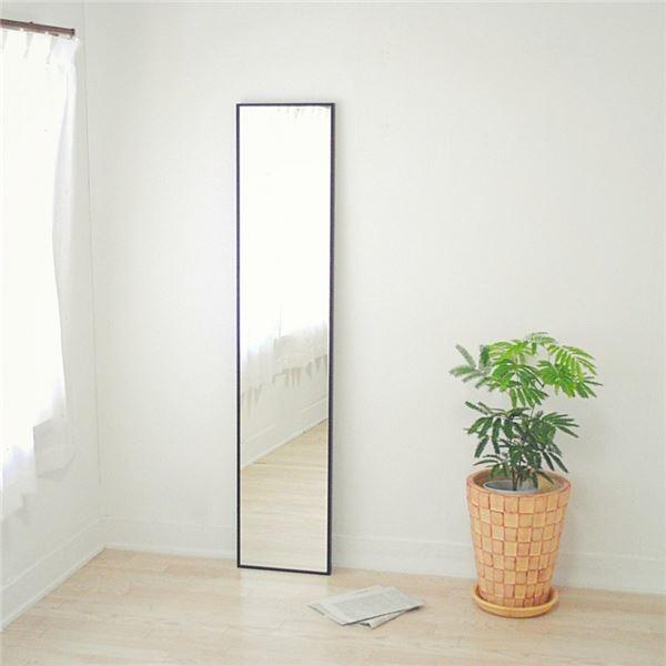 スリムミラー/全身姿見鏡 【ダークブラウン】 壁掛け 幅32×高さ153cm 天然木フレーム シンプル 日本製 〔玄関 廊下 居間 寝室〕【代引不可】