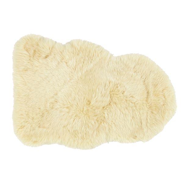 ニュージーランド産 天然ムートンの1匹 ラグマット 【約60×90cm ベージュ】 表面:羊毛皮100% 吸水性 放湿性 『M-511-F』【代引不可】