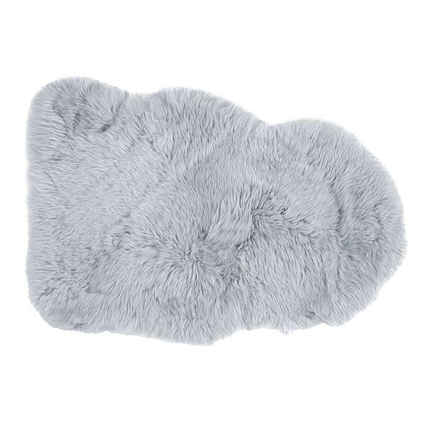 ニュージーランド産 天然ムートンの1匹 ラグマット 【約60×90cm グレー】 表面:羊毛皮100% 吸水性 放湿性 『M-511-F』【代引不可】