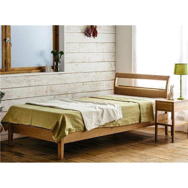 アルダー材 宮付き 二口コンセント付き すのこベッド シングル (フレームのみ) ナチュラル 北欧 ベッドフレーム【代引不可】