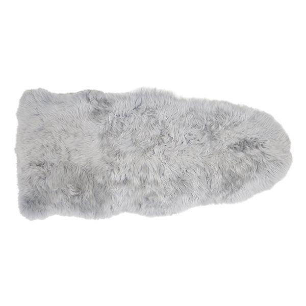 ニュージーランド産 天然ムートンの1.5匹 ラグマット 【約60×130cm グレー】 表面:羊毛皮100% 吸水性 放湿性 『M-511-F』【代引不可】