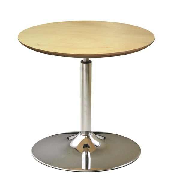 【送料無料】回転 丸テーブル 【ナチュラル×クロームメッキ】 幅60cm 日本製 木製 スチールパイプ 耐荷重30kg 『コーンリフトテーブル』【代引不可】