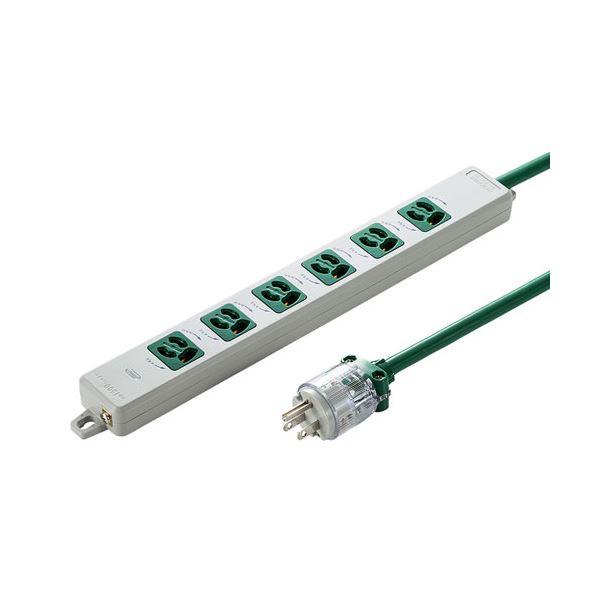 サンワサプライ 医用接地プラグ付き電源タップ グリーン TAP-HPM6-3G