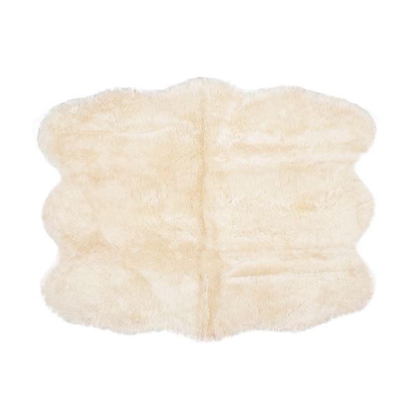 ニュージーランド産 天然ムートンの6匹 ラグマット 【約140×180cm ベージュ】 表面:羊毛皮100% 吸水性 放湿性 『M-511-F』【代引不可】