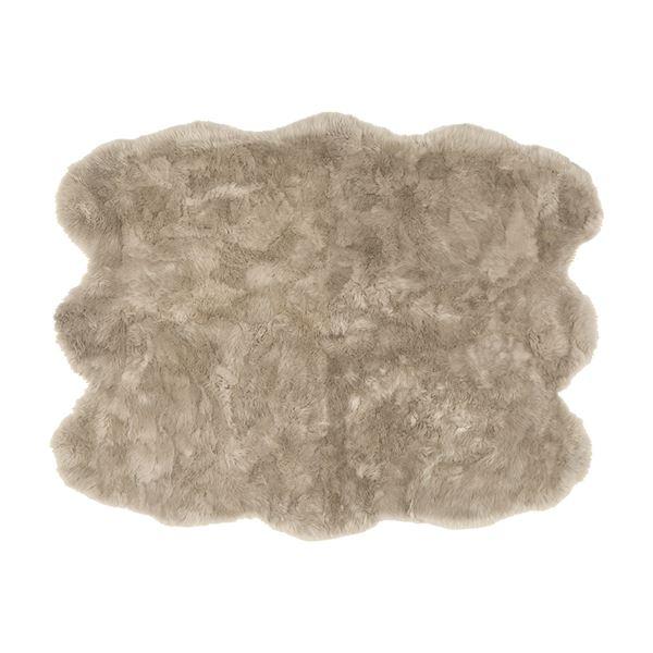 ニュージーランド産 天然ムートンの6匹 ラグマット 【約140×180cm ブラウン】 表面:羊毛皮100% 吸水性 放湿性 『M-511-F』【代引不可】