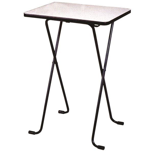 【送料無料】シンプル 折りたたみテーブル 【ハイタイプ 幅60cm】 ニューグレー×ブラック 日本製 メラミン天板付き 〔リビング ダイニング〕【代引不可】