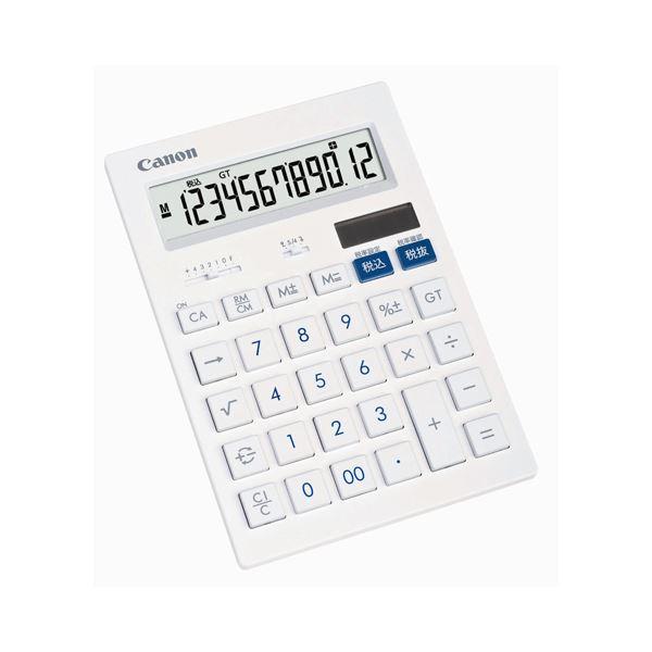【送料無料】(まとめ) キヤノン Canon 抗菌キレイ電卓 HS-1201T SOB 12桁 大型 ホワイト 3443B002 1台 【×10セット】