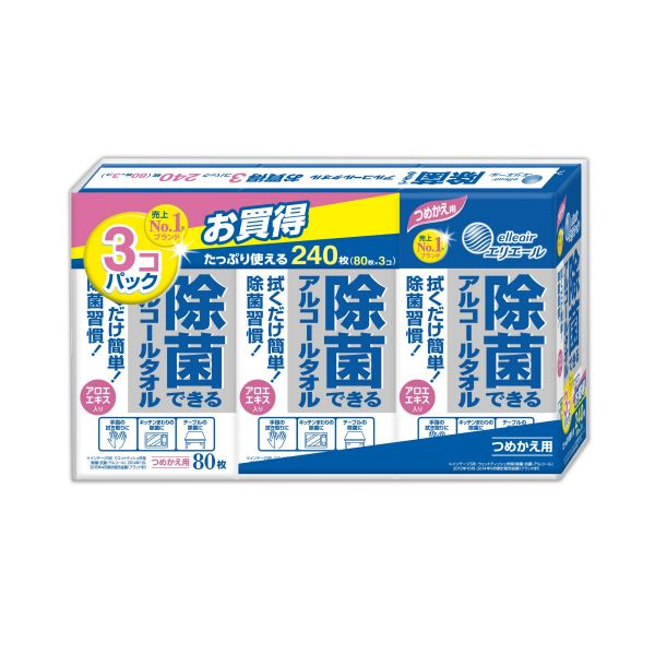 【送料無料】(まとめ) 大王製紙 エリエール 除菌できるアルコールタオル つめかえ用 1セット(240枚:80枚×3パック) 【×10セット】