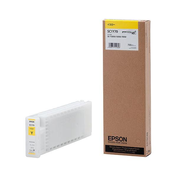 (まとめ) エプソン EPSON インクカートリッジ イエロー 700ml SC1Y70 1個 【×10セット】