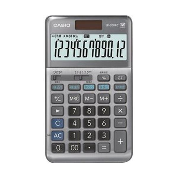 【送料無料】(まとめ)カシオ 軽減税率電卓 12桁ジャストタイプ JF-200RC-N 1台【×3セット】