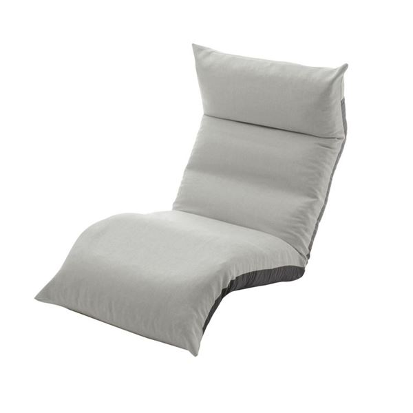 【送料無料】リクライニング フロアチェア/座椅子 【グレー】 幅54cm 日本製 折りたたみ収納可 スチールパイプ ウレタン 〔リビング〕【代引不可】