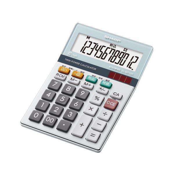(まとめ) シャープ エルシーメイト電卓 12桁ミニナイスサイズ EL-M712K-X 1台 【×10セット】
