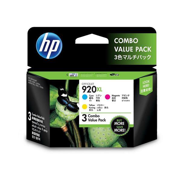 (まとめ)HP HP 920XLインクカートリッジ 3色マルチパック E5Y50AA 1箱(3個:各色1個) 【×2セット】