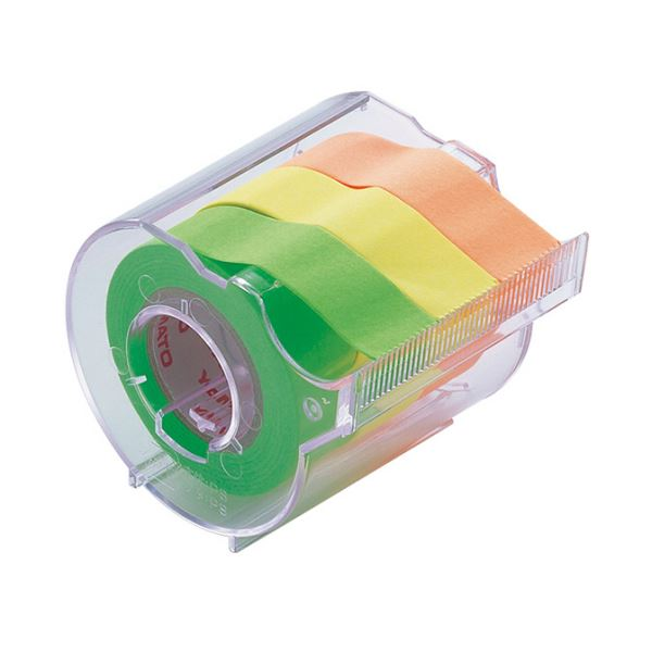 【送料無料】(まとめ) ヤマト メモック ロールテープ カッター付 15mm幅 オレンジ&レモン&ライム RK-15CH-A 1個 【×30セット】