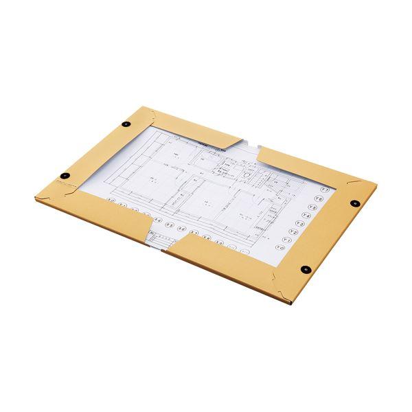 (まとめ) TANOSEE図面ファイル(クラフトタイプ) A2 2つ折 背幅28mm 1セット(5冊) 【×5セット】
