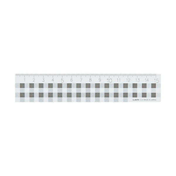 (まとめ) ライオン事務器 ギンガムチェック定規15cm ブラック C-5 1本 【×30セット】