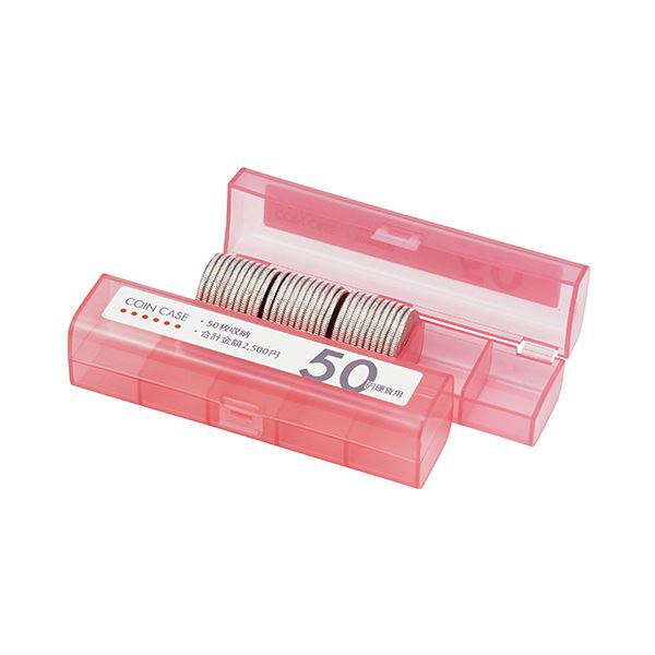 【送料無料】(まとめ) オープン工業 コインケース(50枚収納)50円硬貨用 桃 M-50 1個 【×100セット】