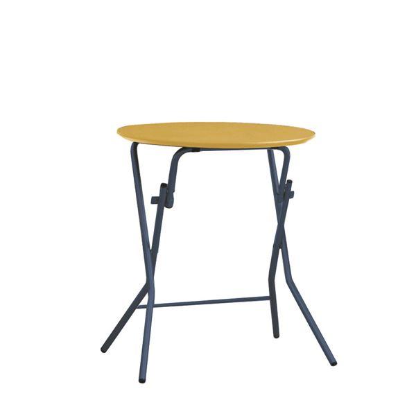【送料無料】折りたたみテーブル 【幅63.5cm 円形 ナチュラル×ブラック】 日本製 木製 スチールパイプ 『スタンドタッチテーブル60』【代引不可】