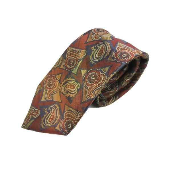 西陣手縫い仕立て ほぐし染め シルク100%ネクタイ レンガ