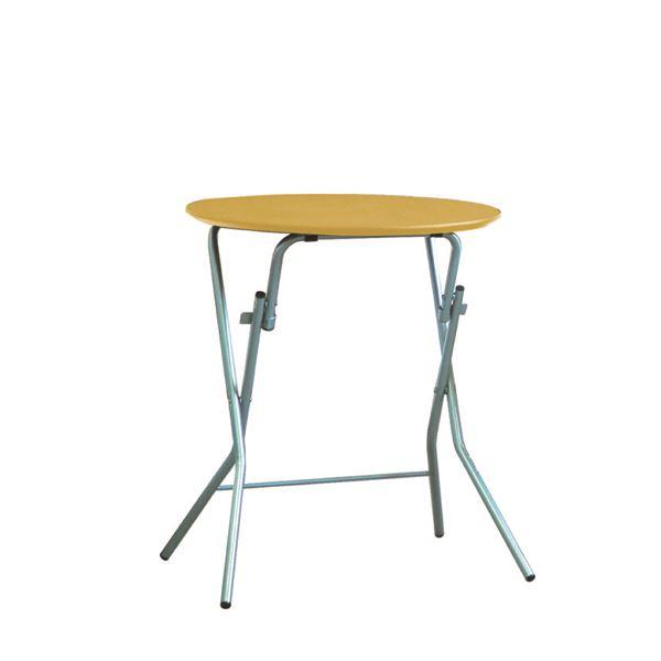 【送料無料】折りたたみテーブル 【幅63.5cm 円形 ナチュラル×シルバー】 日本製 木製 スチールパイプ 『スタンドタッチテーブル60』【代引不可】