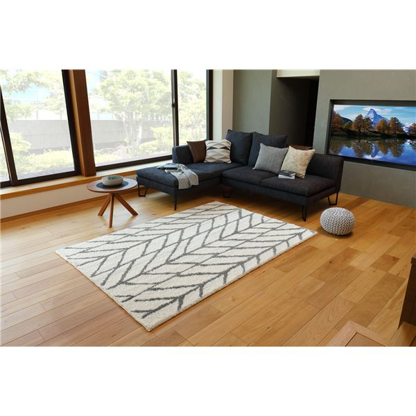 ベルギー製 ラグマット/絨毯 【約200×250cm アイボリー】 長方形 折りたたみ可 『BLIZZ ブランチ』 〔リビング ダイニング〕【代引不可】