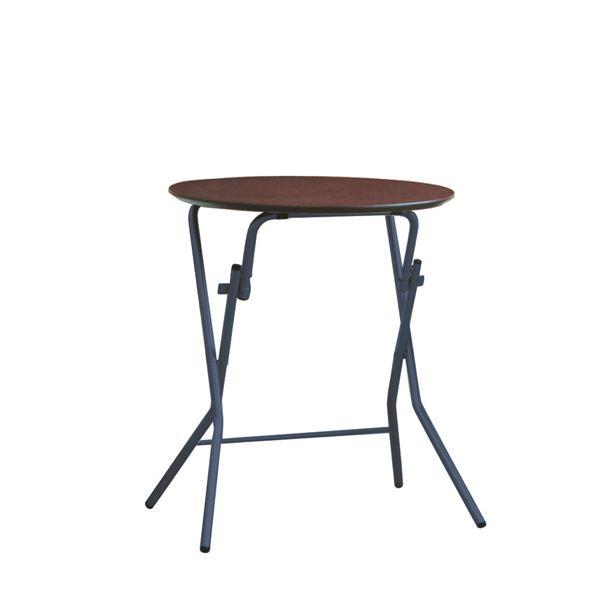 【送料無料】折りたたみテーブル 【幅63.5cm 円形 ダークブラウン×ブラック】 日本製 木製 スチールパイプ 『スタンドタッチテーブル60』【代引不可】