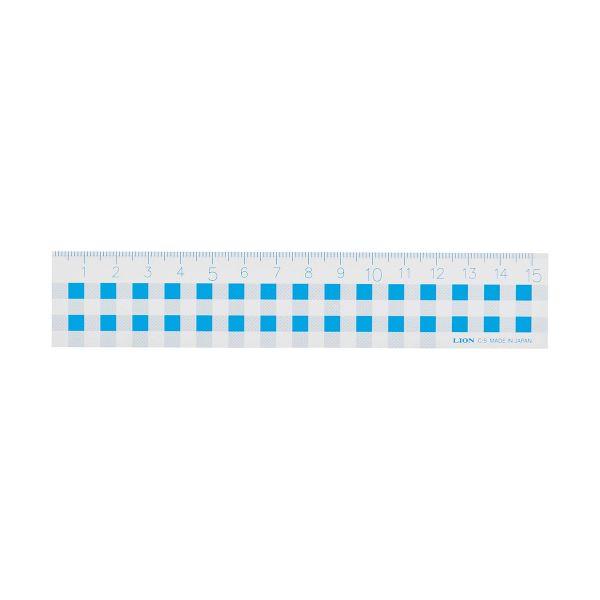 (まとめ) ライオン事務器 ギンガムチェック定規15cm ブルー C-5 1本 【×30セット】