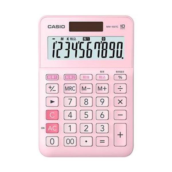 【送料無料】(まとめ)カシオ W税率電卓 10桁ミニジャストタイプ ピンク MW-100TC-PK-N 1台【×10セット】