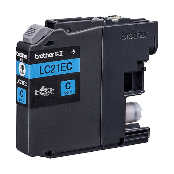 【送料無料】(まとめ) ブラザー インクカートリッジ シアン大容量 LC21EC 1個 【×10セット】
