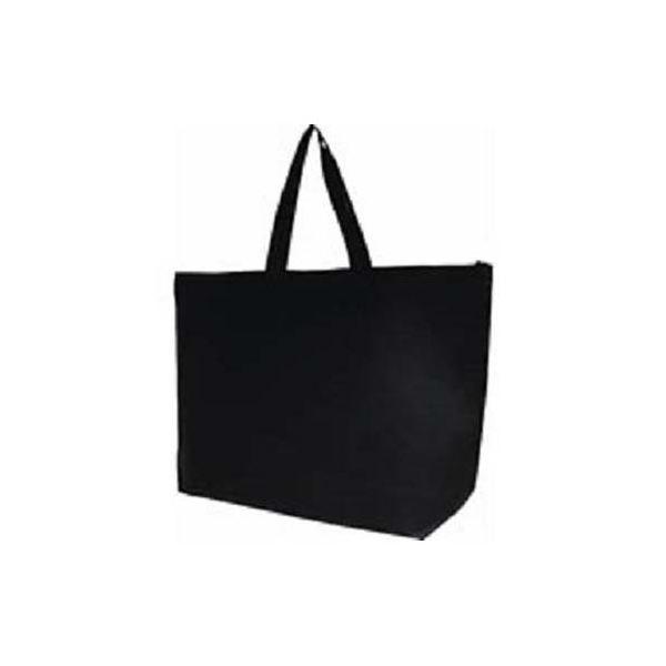 (まとめ) サンナップ 不織布ファスナーバッグ 大 5枚 ブラック【×5セット】