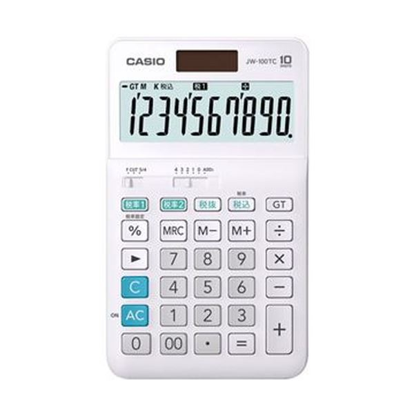 【送料無料】(まとめ)カシオ W税率電卓 10桁ジャストタイプ JW-100TC-N 1台【×10セット】