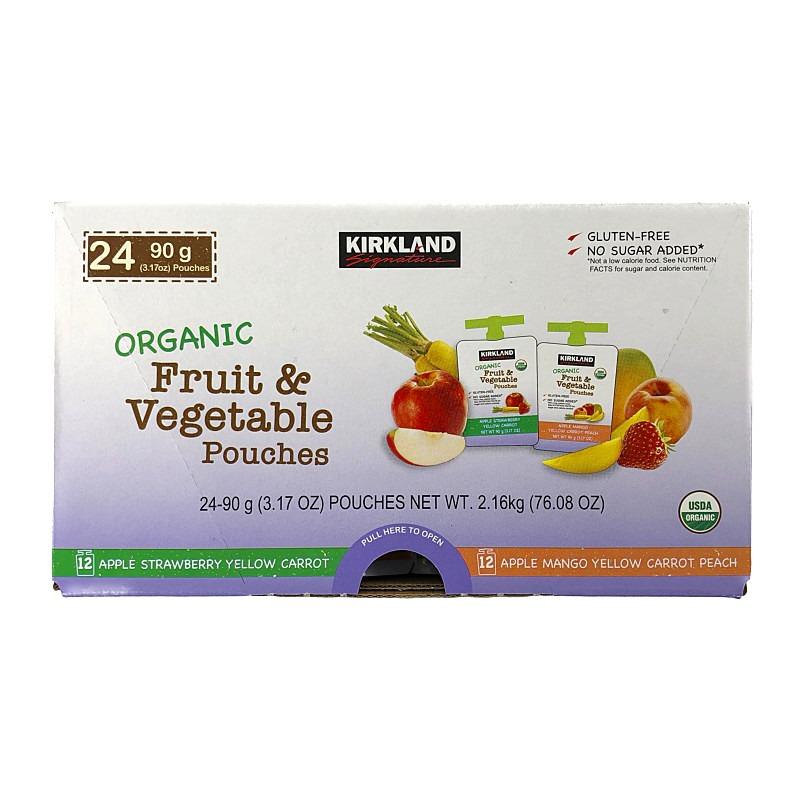 送料込み 高級品 送料無料 オーガニック フルーツ ベジタブル ピューレ パウチ いよいよ人気ブランド Pouches 野菜 90g×24 くだもの Fruit Vegetable Organic