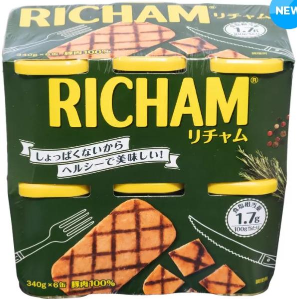 本物 送料込み 送料無料 東遠 リチャム 340g x 6個 缶詰 しょっぱくない RICHAM 豚肉100% 柔らかい 高級ハム缶 期間限定で特別価格 韓国ブランド1位 保存食