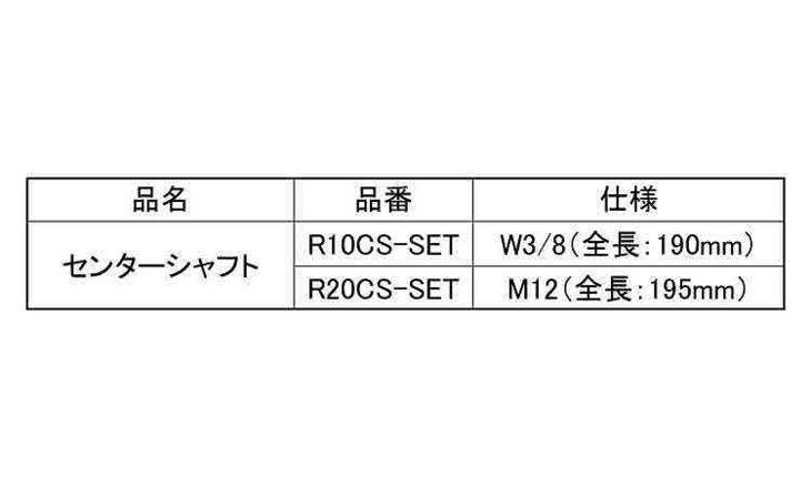 センターシャフト 規格(R20CS-SET) 入数(1) 04246624-001【04246624-001】[4549663402685][4549663402685]