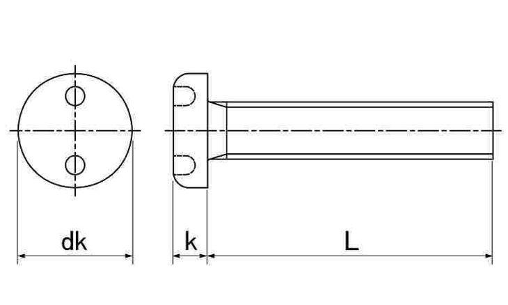 SUS ツーホール・ナベコ 表面処理(ナイロック(泰洋産工、阪神ネジ) ) 材質(ステンレス(SUS304、XM7等)) 規格( 5 X 25) 入数(100) 04179057-001【04179057-001】[4549638515020]