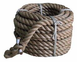 綱引きロープ(麻) 太さ36ミリ径X約30m 03864897-001【03864897-001】[4984834167558]