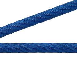 【送料無料】青 鉄コーティングワイヤーロープ 200m巻【ニッサチェイン】 03101194-001