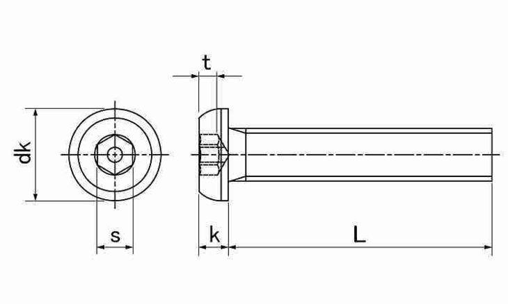 SUSピン6カク・ボタンコ 表面処理(ナイロック(泰洋産工、阪神ネジ) ) 材質(ステンレス(SUS304、XM7等)) 規格( 4 X 16) 入数(100) 04179248-001【04179248-001】[4549638513392]