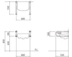 バリアフリー手摺 洗面・手洗器用標準取付タイプ(B・D・G) SK-250S 03044593-001【03044593-001】[4950536445935]