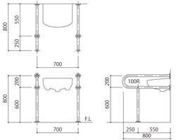 バリアフリー手摺 洗面・手洗器用(樹脂被覆)標準取付タイプ(B・D・G)グリーン SK-259S-RJ 03044670-001【03044670-001】[4950536446703]
