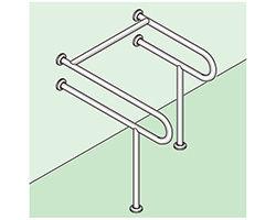 バリアフリー手摺 洋式トイレ用(樹脂被覆)標準取付タイプ(B・D・G)右勝手ピンク SK-158S-RJ 03044478-001【03044478-001】[4950536444785]