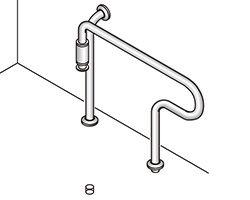 バリアフリー手摺 固定型標準取付タイプ(B・D・G)左勝手 SK-162S 03044495-001【03044495-001】[4950536444952]