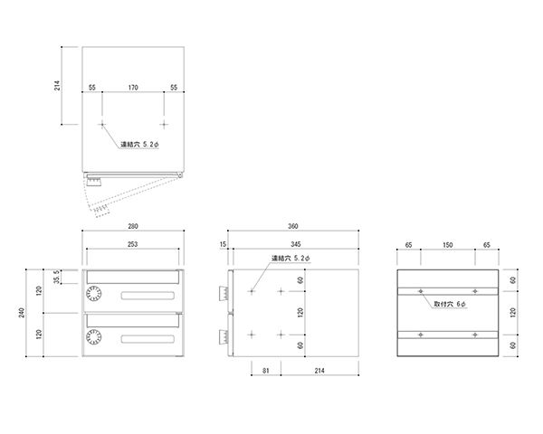 郵便受箱前入前出型 大型ダイヤル錠式 SMP-19-2FF 03042167-001【03042167-001】[4950536421670]