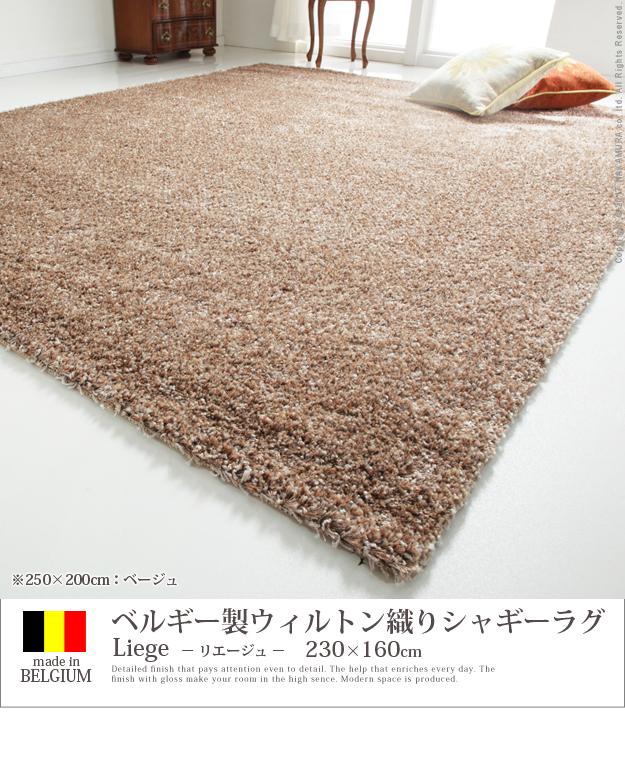 【送料無料】ベルギー製 ウィルトン織り シャギーラグ リエージュ 160x230cm ラグ カーペット じゅうたん