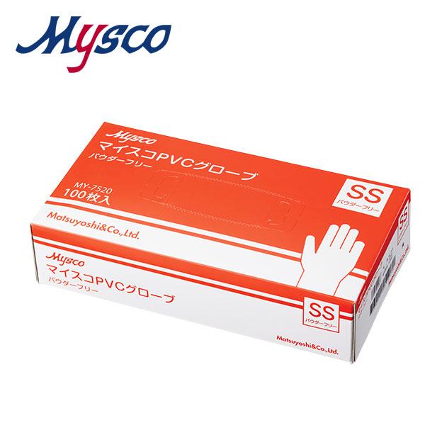 【送料無料】【まとめ買いがお得】マイスコPVCグローブ パウダーフリー  サイズ:SS 入数:100枚(MY-7520) ×40箱