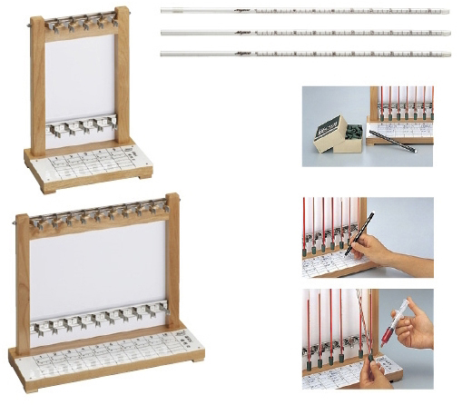 【送料無料】血沈台(松吉式)  規格:木製10本立 付属品:ゴム栓×10・ペン×1(MY-2905)