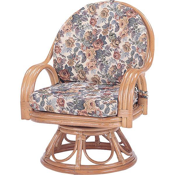 【送料無料】籐回転座椅子 H25S583 単品【610026-03】