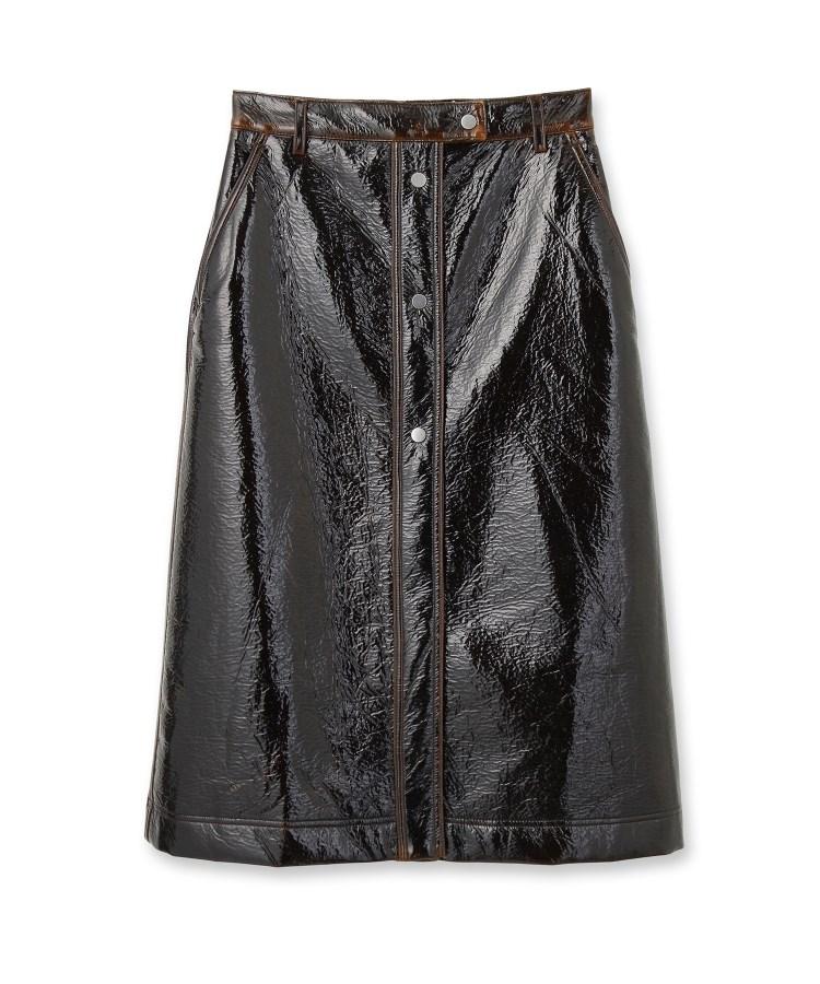 DRESSTERIOR(Ladies)(ドレステリア(レディース))COVERT フェイクレザーミモレボタンスカート