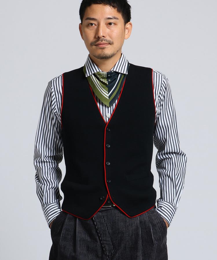 TAKEO KIKUCHI(タケオキクチ)【 PNJ 】パイピングニットベスト [ メンズ ベスト ]